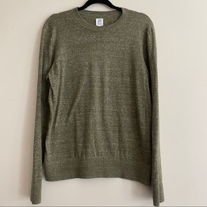 GAP Men's Crewneck Green Classic Crewneck Sweater